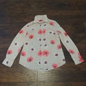 Neon floral button up shirt
